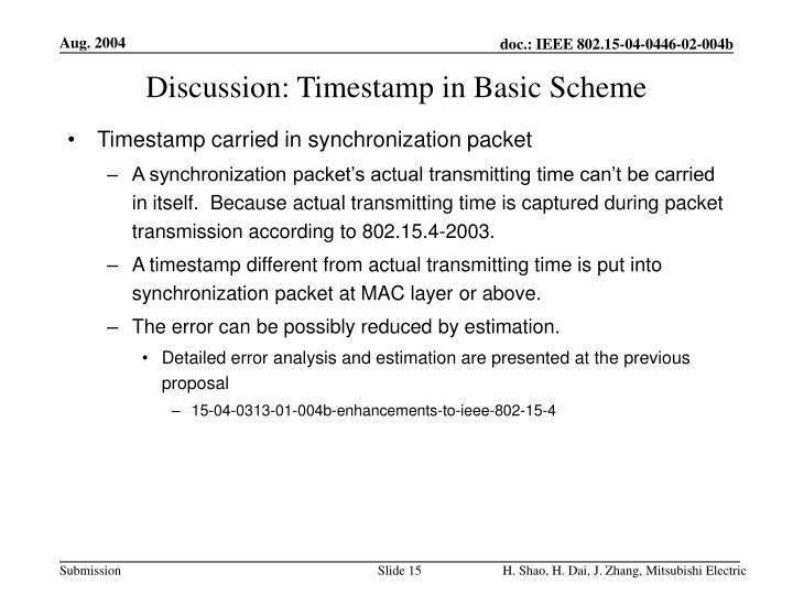 Discussion: Timestamp in Basic Scheme