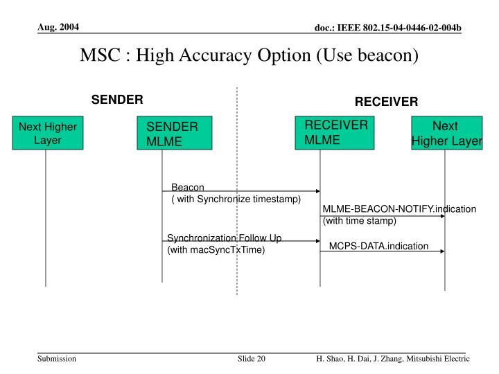 MSC : High Accuracy Option (Use beacon)