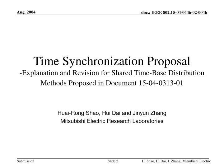 Time Synchronization Proposal