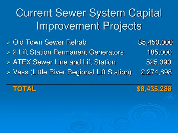 Current Sewer System Capital