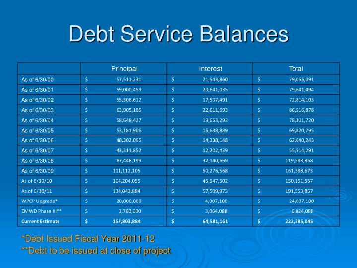 Debt Service Balances