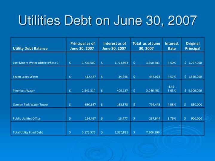 Utilities Debt on June 30, 2007