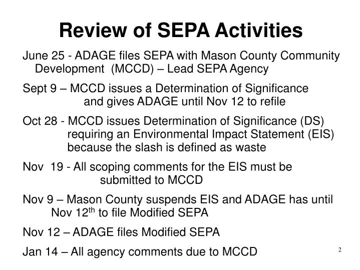 Review of SEPA Activities