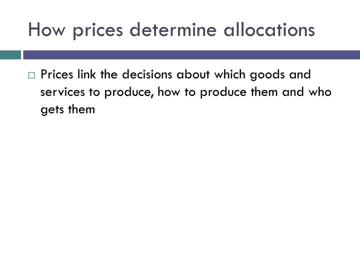 How prices determine allocations