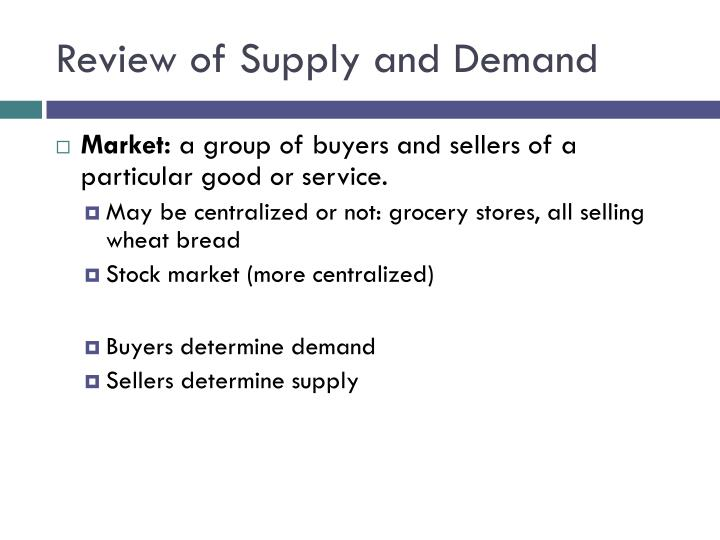 Review of Supply and Demand