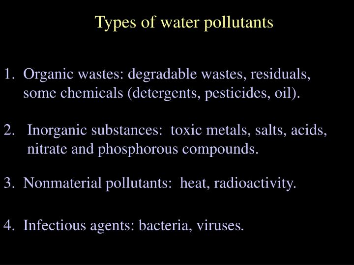Types of water pollutants