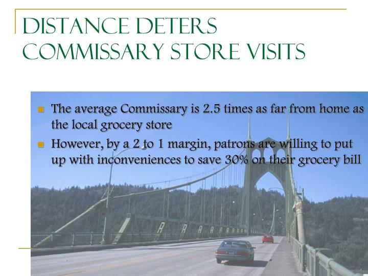 Distance Deters Commissary Store Visits