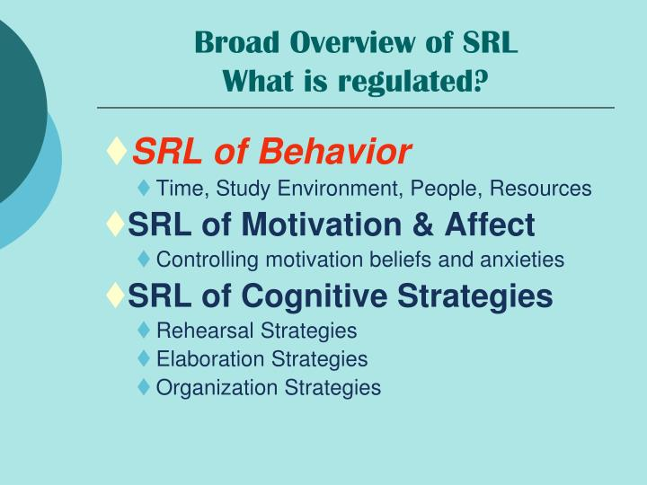 Broad Overview of SRL