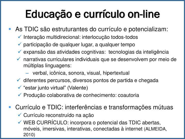 Educação e currículo on-line