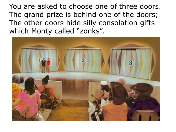 You are asked to choose one of three doors.