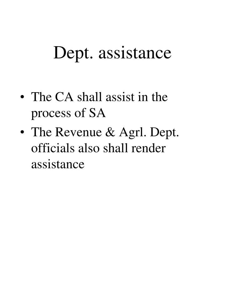 Dept. assistance