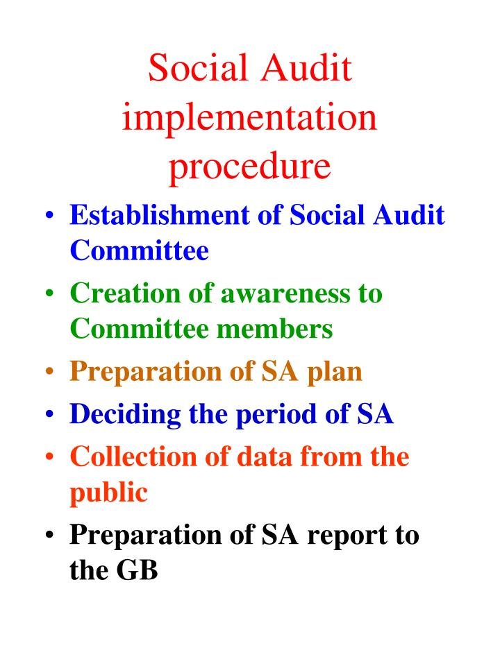 Social Audit implementation procedure