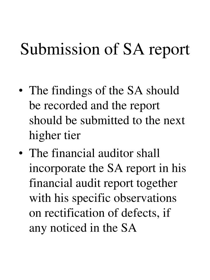 Submission of SA report