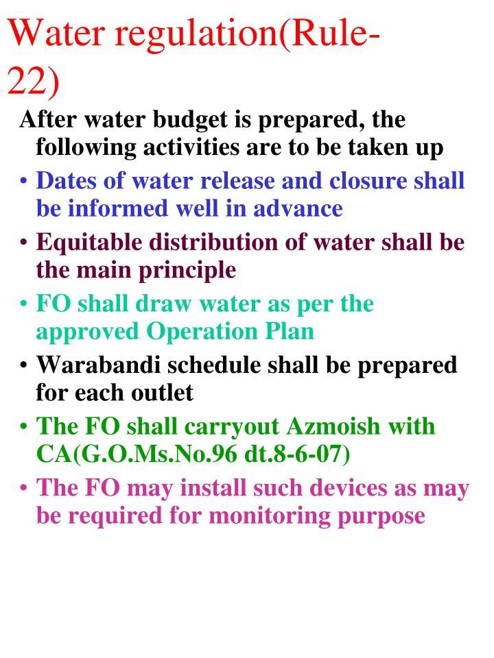 Water regulation(Rule-22)