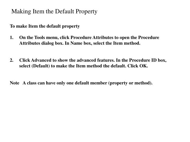 Making Item the Default Property