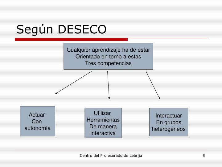 Según DESECO