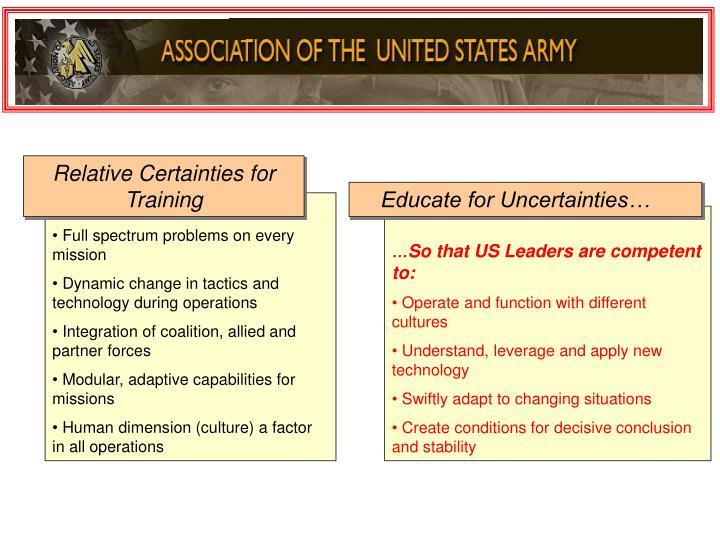 Relative Certainties for Training