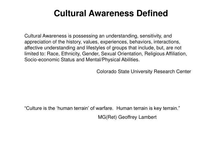 Cultural Awareness Defined