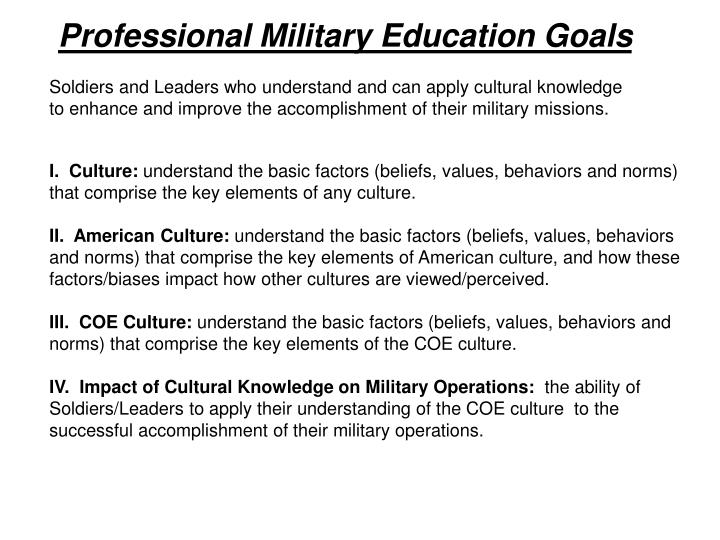 Professional Military Education Goals