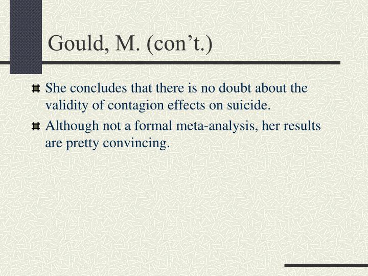 Gould, M. (con't.)