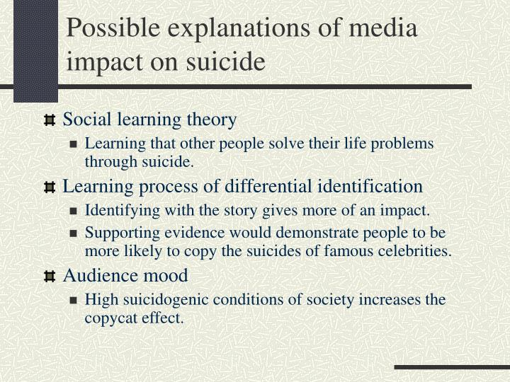 Possible explanations of media impact on suicide