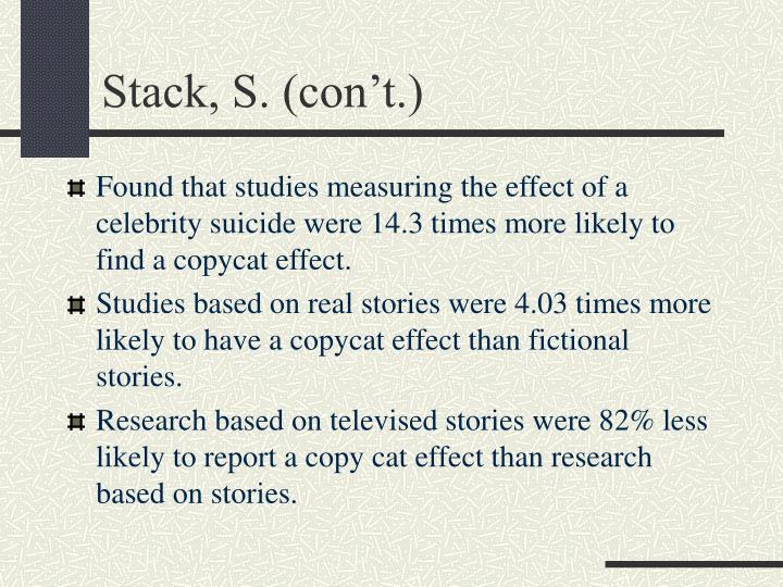 Stack, S. (con't.)