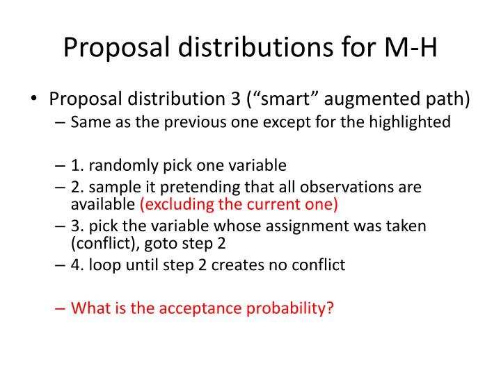 Proposal distributions for M-H