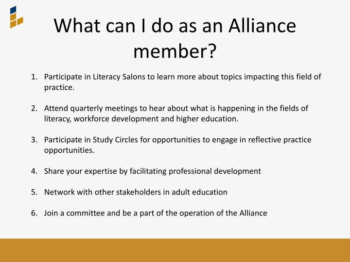 What can I do as an Alliance member?