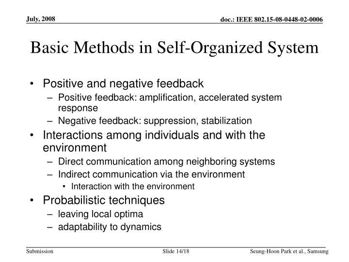 Basic Methods in Self-Organized System