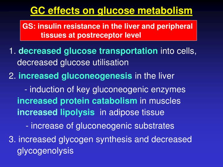 GC effects on glucose metabolism