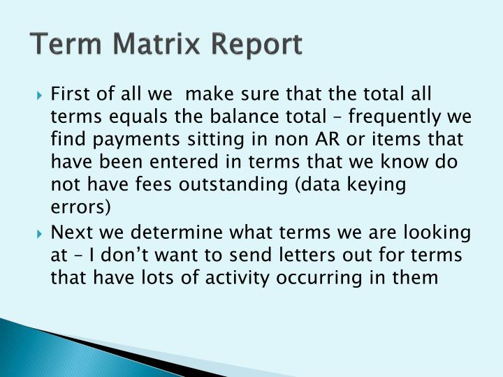 Term Matrix Report
