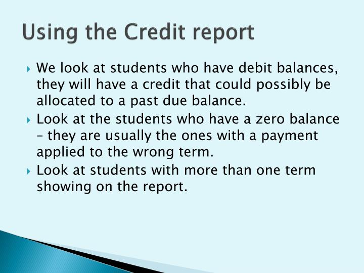 Using the Credit report