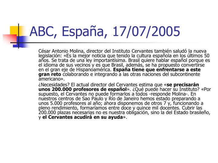 ABC, España, 17/07/2005