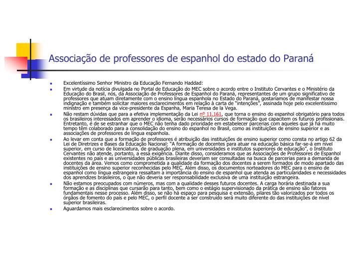 Associação de professores de espanhol do estado do Paraná