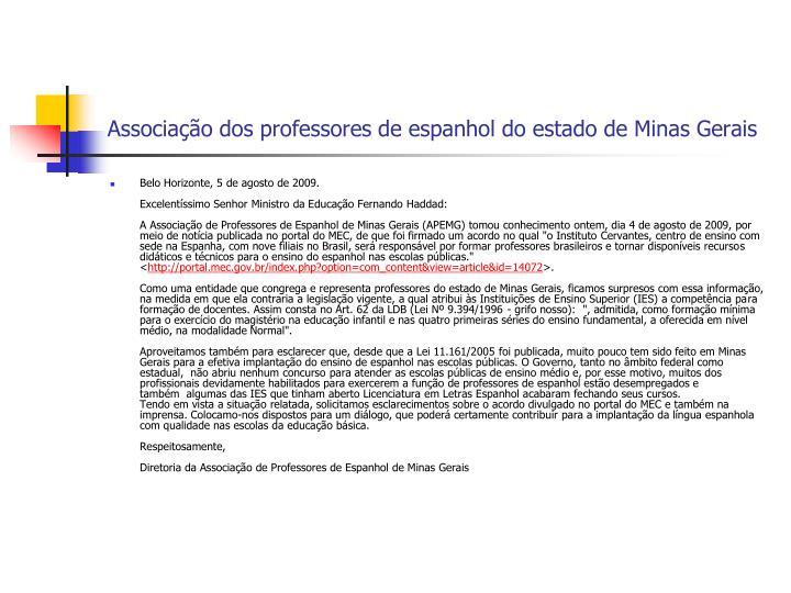 Associação dos professores de espanhol do estado de Minas Gerais