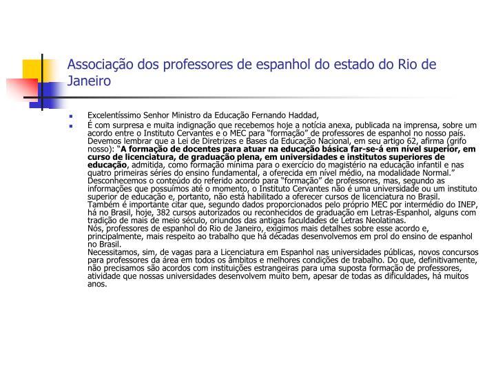 Associação dos professores de espanhol do estado do Rio de Janeiro