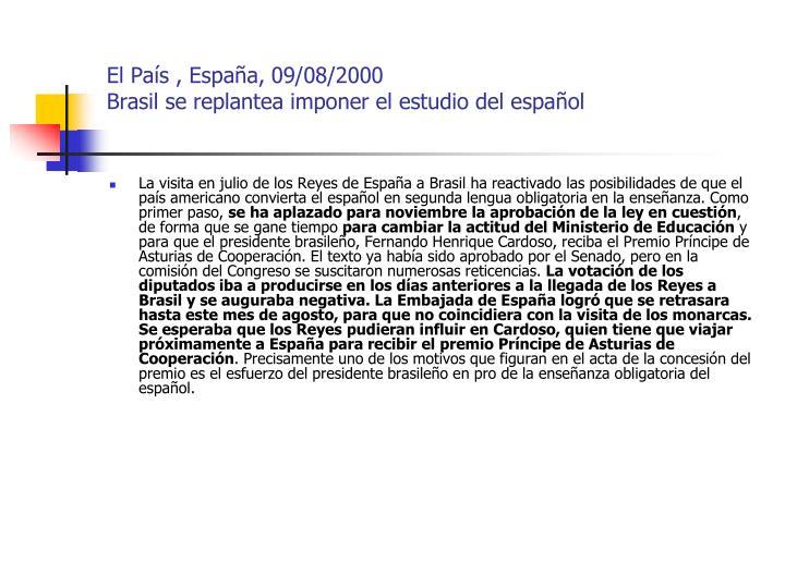 El País , España, 09/08/2000