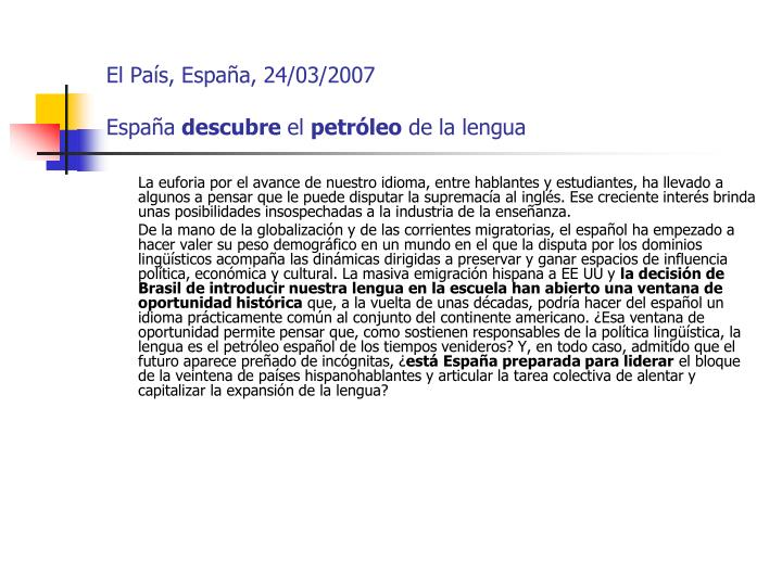 El País, España, 24/03/2007