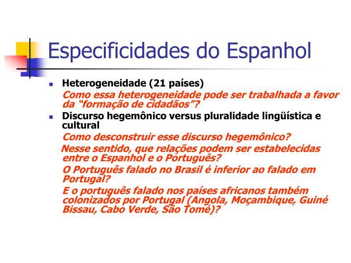 Especificidades do Espanhol