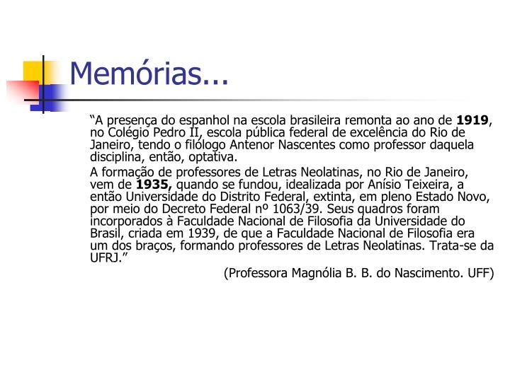 Memórias...