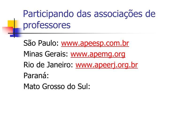 Participando das associações de professores