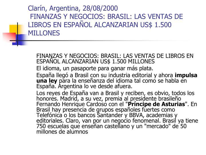 Clarín, Argentina, 28/08/2000
