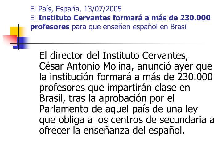 El País, España, 13/07/2005