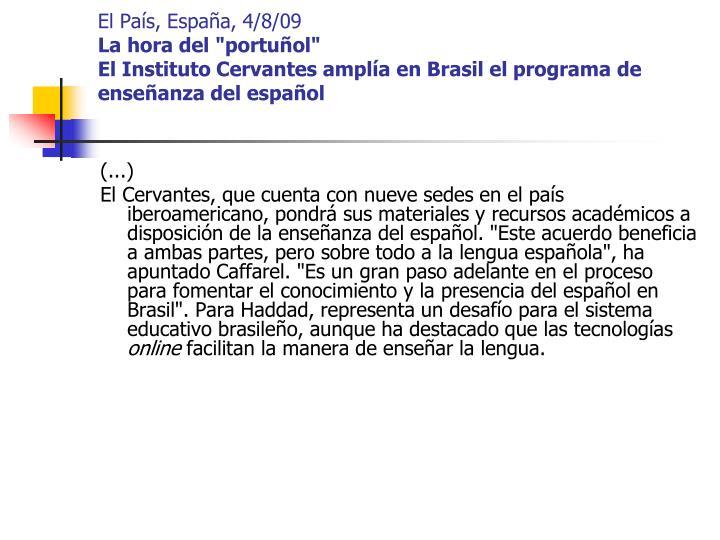 El País, España, 4/8/09