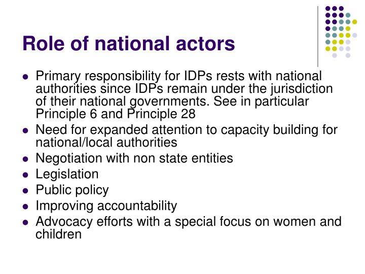 Role of national actors