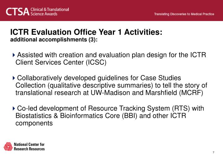 ICTR Evaluation Office Year 1 Activities: