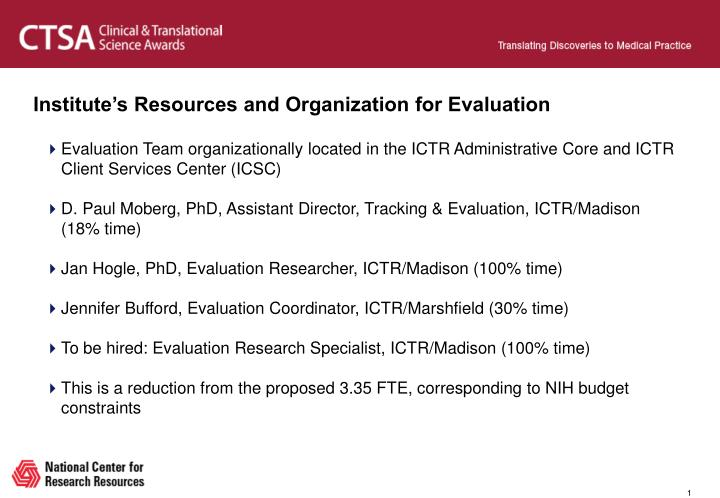 Institute's Resources and Organization for Evaluation