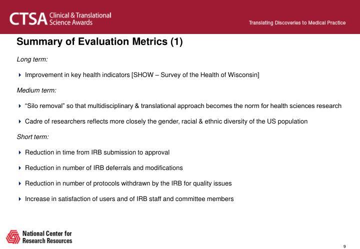 Summary of Evaluation Metrics (1)