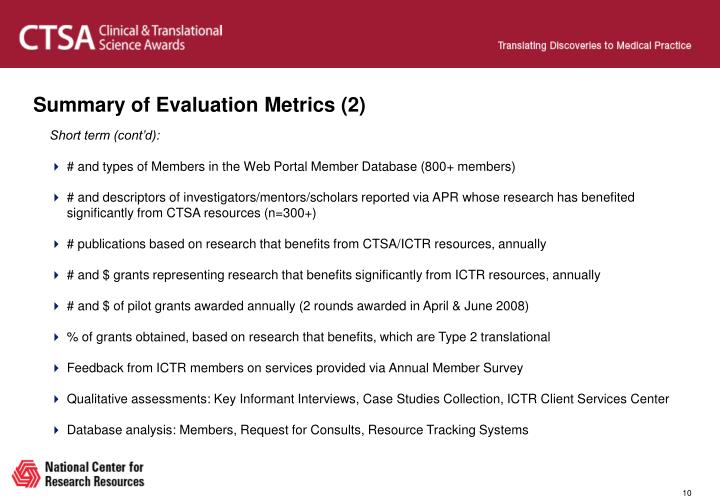 Summary of Evaluation Metrics (2)