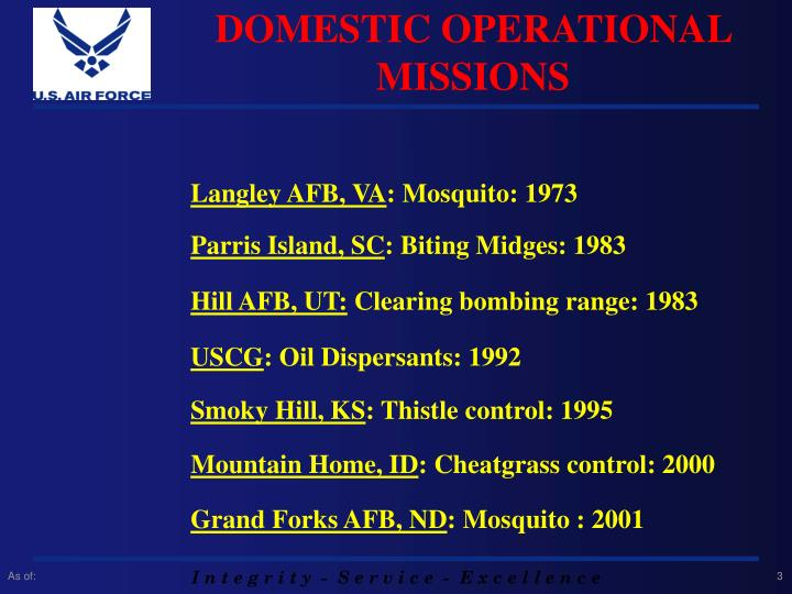 DOMESTIC OPERATIONAL MISSIONS